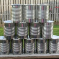 Set Of 10 Empty Metal Tin Cans