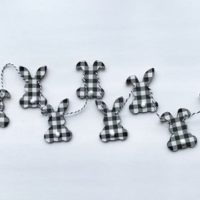 Mini Black and White Wood Bunny Banner
