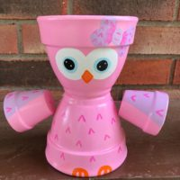 Painted Owl Flower Pot Person