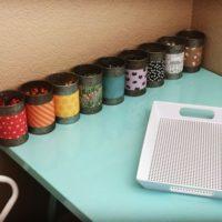 Galvanized Tin Can Crayon Organizer
