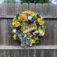 Summer Wreath, Bee Wreath, Front Door Wreath