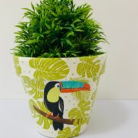 Hand Painted & Decoupaged Terracotta Flower Pot, Toucan Bird Design.