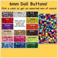 50 or 100 Round 6mm mini doll buttons small