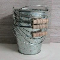 Buckets, Galvanized Tin Buckets with Bails, Set of 6