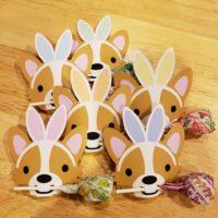 Corgi Bunny Ears Easter Lollipop Holder