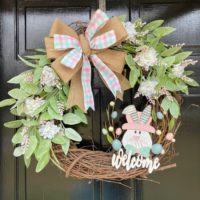 Easter Wreath with Greenery and Wooden Bunny