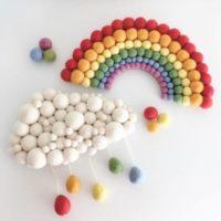 Felt ball rainbow and coordinating cloud - nursery decor