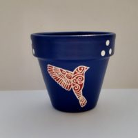 Painted Bird Flower Pot