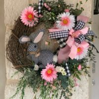 Plaid Farmhouse Bunny Easter Wreath