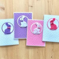 Handmade Easter Card Set. Embossed Easter Bunny Greeting Cards.
