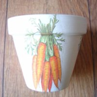 Hand Painted and Decoupaged Decorative Flower Pots Carrots
