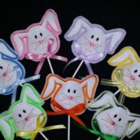 Embroidered bunny lollipop covers