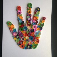 Handprint Card, Quilling hand, Birthday Present