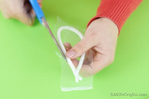 Cutting tulle to fit around ear