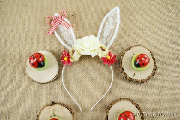 Easter bunny headband on burlap