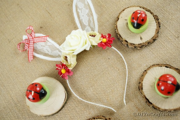Eater bunny ears headband laying on burlap