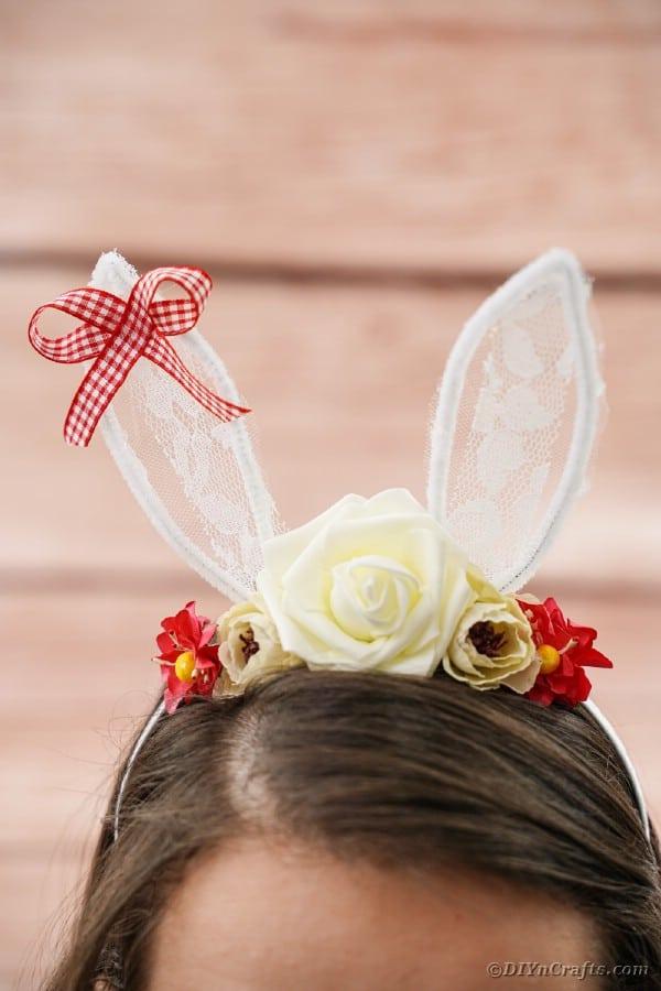 Easter bunny headband on brunette