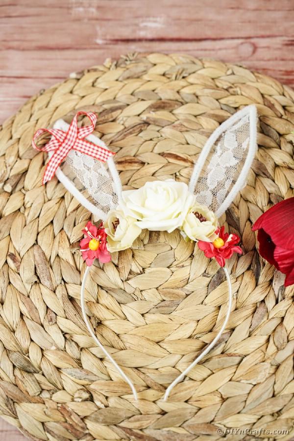 Easter bunny headband on woven mat