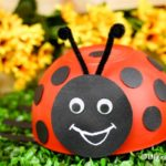 Upcycled red bowl ladybug decoration