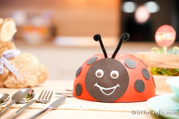 Ladybug on table with decor