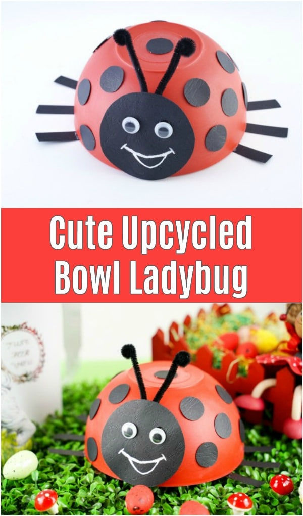 Upcycled bowl ladybug on grass