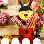 Ladybug organizer filled with pencils