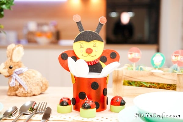 Ladybug organizer on table