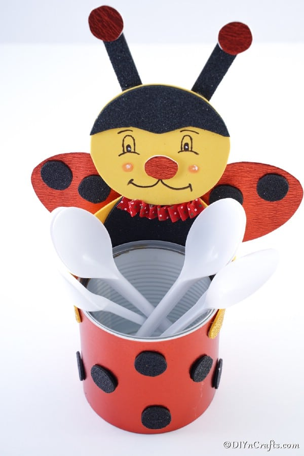 Ladybug organizer filled with spoons