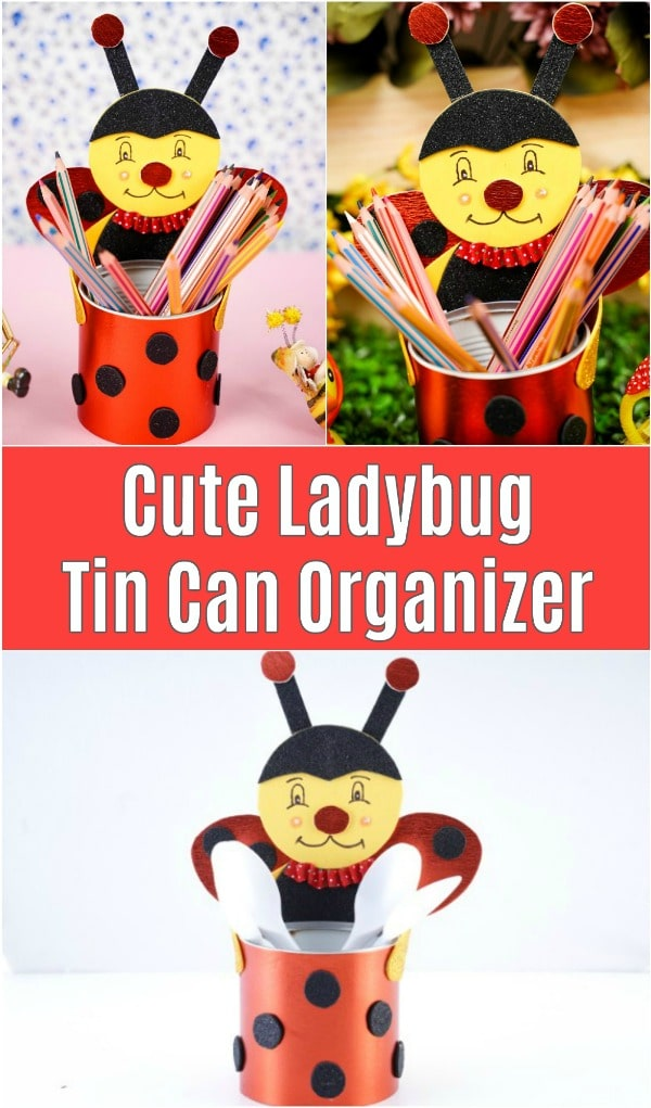 Ladybug tin can organizer collage