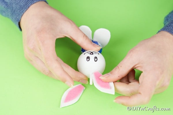 Attaching ears to lollipop bunny