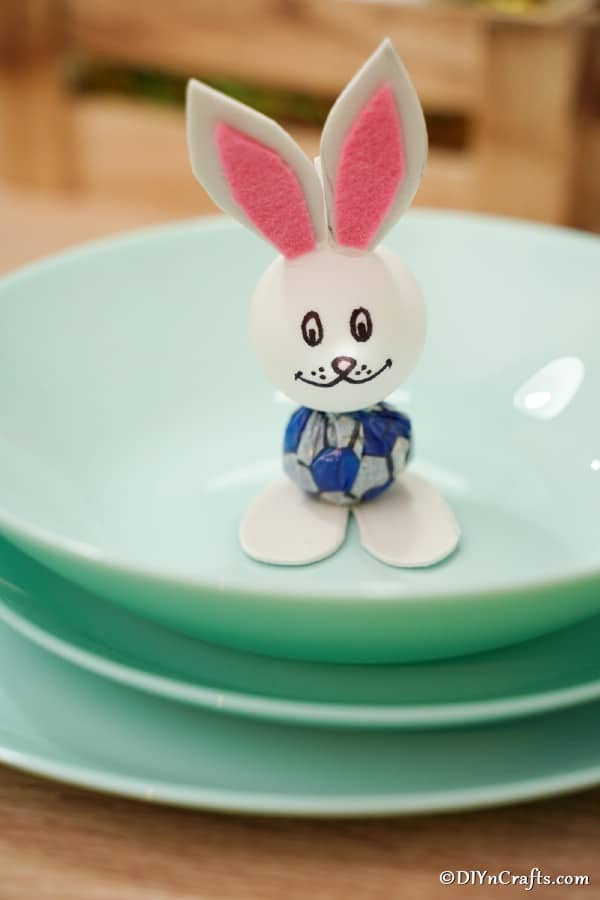 Easter bunny lollipop on green plate
