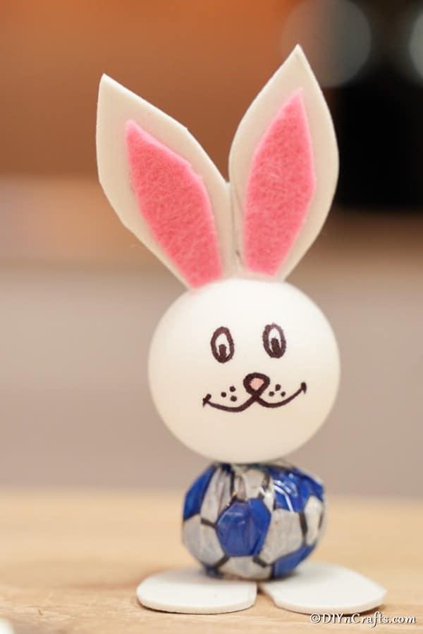 Easter bunny lollipop on table