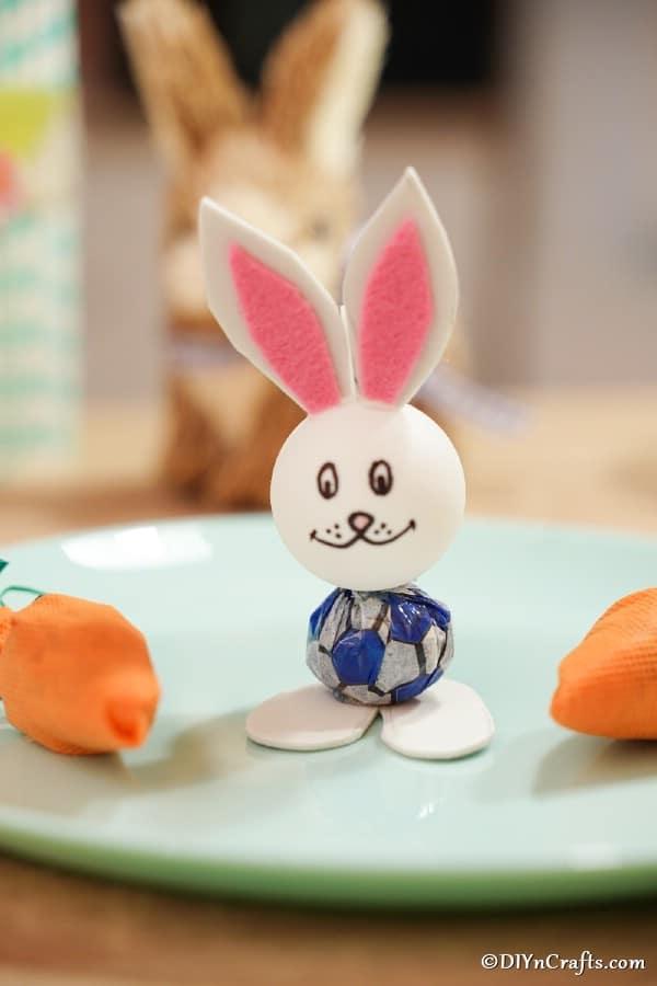 Lollipop bunny on green plate