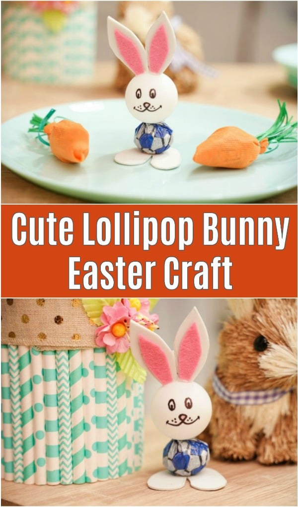 Lollipop bunny on table and on green plate