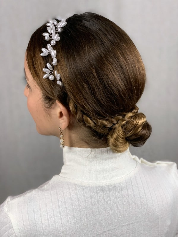 Finished low braid hairstyle