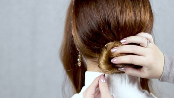 Securing bun with bobby pins