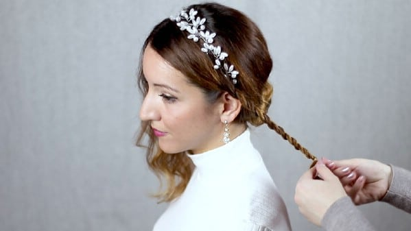 Making a small braid on side of hair