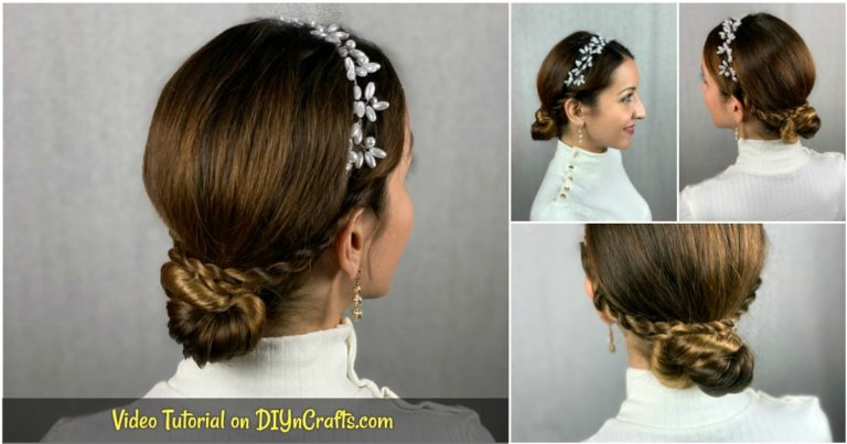 Facebook collage low bun braided