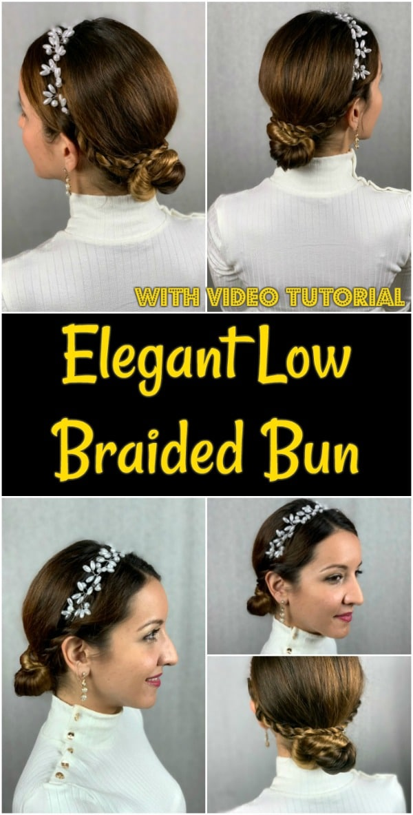 Collage of elegant low braided bun