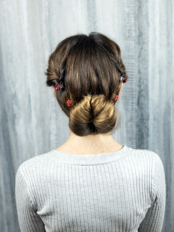 Finished low bun updo hairstyle
