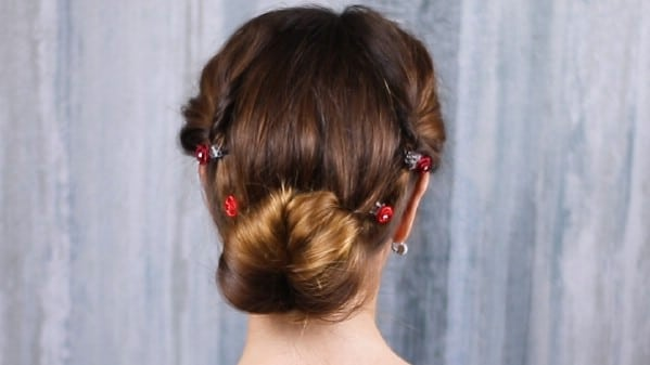 Brunette with low bun hairstyle