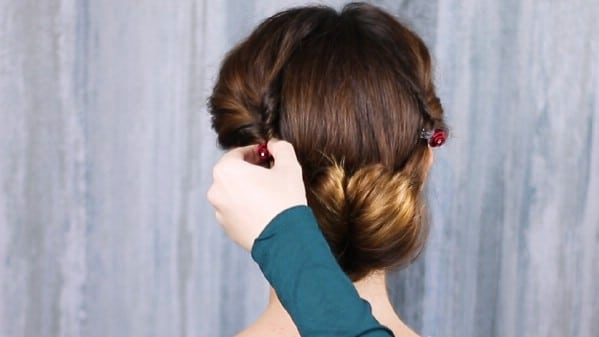 Adding rose clips to hair