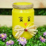 Mason jar chicken on fake grass