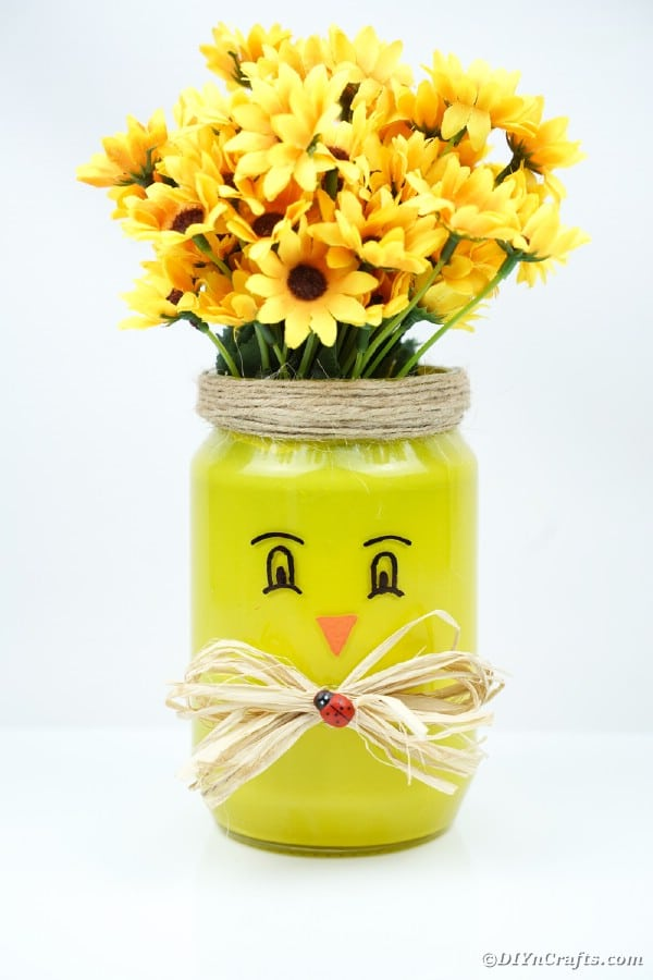 Mason jar chicken filled with flowers