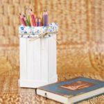 Craft stick pencil holder