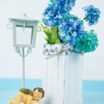 Blue flowers in craft stick organizer