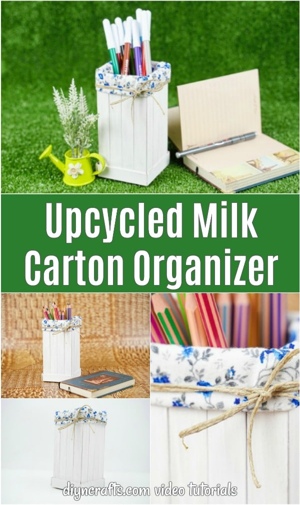 Upcycled milk carton organizer collage