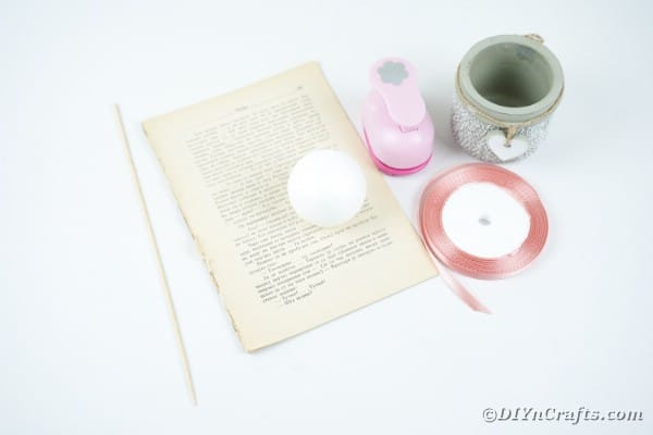 Supplies for old book page flower ball