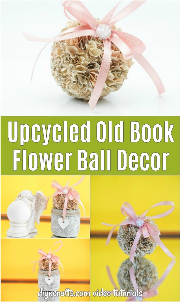 Old book flower ball collage