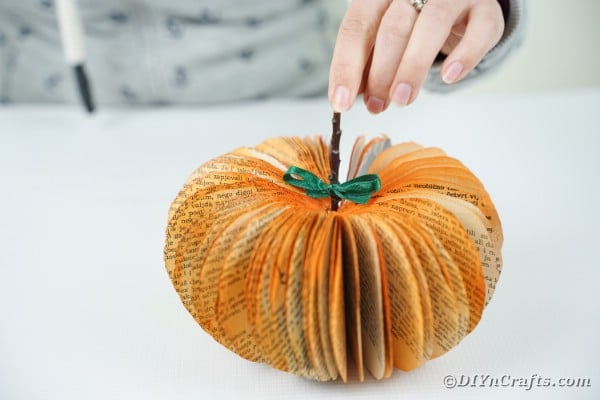Adding twig to pumpkin